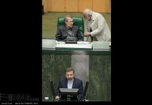 Mahmoud Vaezi (front) in Parliament