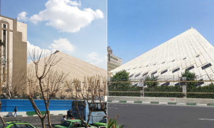 Parliament buildings before (right) and now (left)