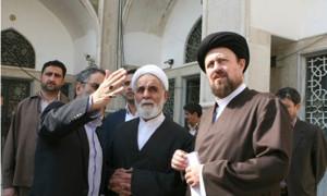 Ali Akbar Nateq Nouri (left) and Hassan Khomeini