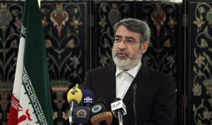 Iranian Interior Minister Abdolreza Rahmani Fazli speaks during a joint press conference with his Pakistani counterpart Nisar Ali Khan, in Islamabad, Pakistan, Tuesday, May 6, 2014. Fazli arrived in Islamabad for a two-day visit to hold talks with Pakistani leadership to discuss economic cooperation, bilateral, regional relations and security issues. (AP Photo/Anjum Naveed)