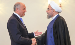 Laurent Fabius and Hassan Rohani