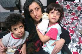 Nargess Mohammadi with her twins