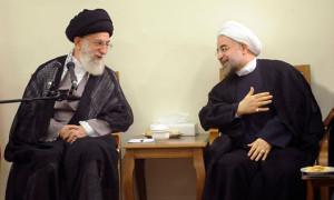 Ayatollah Khamenei and Hassan Rohani