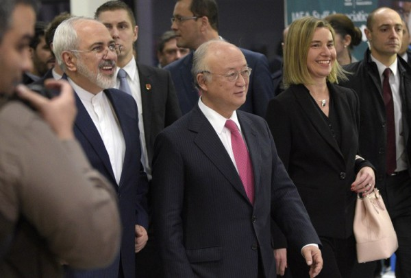Zarif, Amano and Mogherini in Vienna