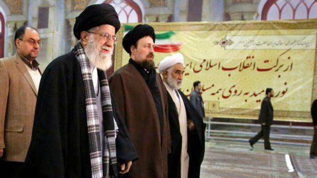 Ali Khamenei and Hassan Khomeini