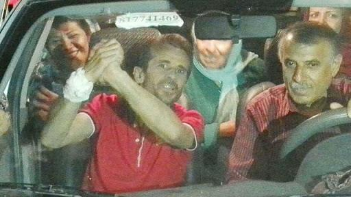 Iranian political prisoner Jafar Azimzadeh right after release and ending his 62-day hunger strike