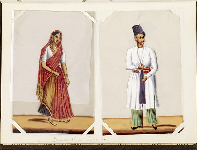 Parsis from India, c. 1870 depicted in Parsee, leaf from Bound Collection of 20 Miniatures Depicting Village Life held in Walters Art Museum.